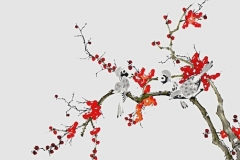 Sumi-e, painting, Beppe Mokuza, Zen, meditation, landscape, brush, ink, bamboo, monk, birds, plum treee, sakura
