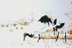 Sumi-e, painting, Beppe Mokuza, Zen, meditation, landscape, cranes, brush, ink