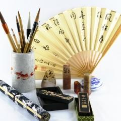 brushes, painting, sumi-e, ink, black, fan, rice paper, seals, meditation, monk, Japan, japanese, art
