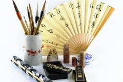 brushes, painting, sumi-e, ink, black, fan, rice paper, seals, meditation, monk, Japan, japanese, art