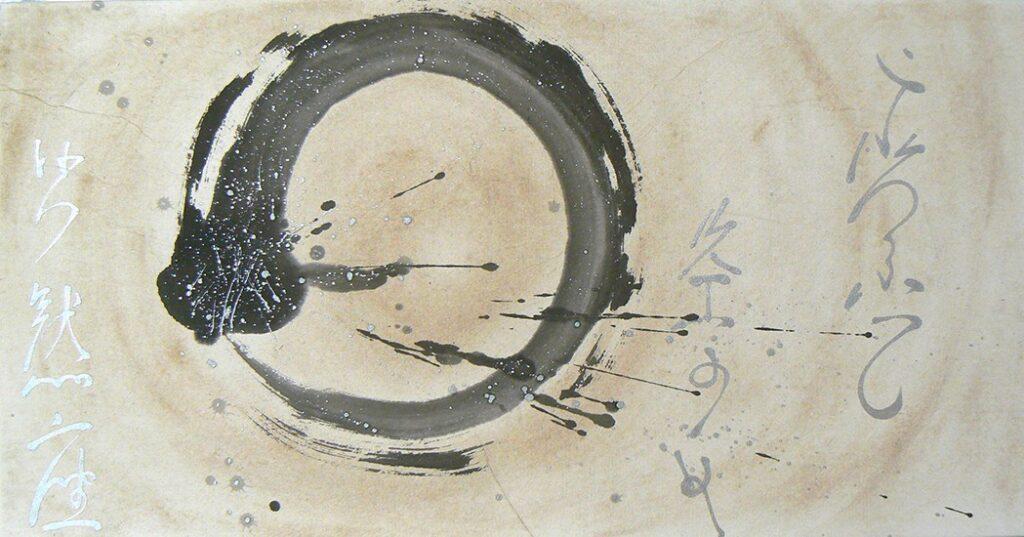 Sumi-e-painting-enso-circle-calligrafy-BeppeMokuza-Zen-brush-ink-art-peace-ricepaper