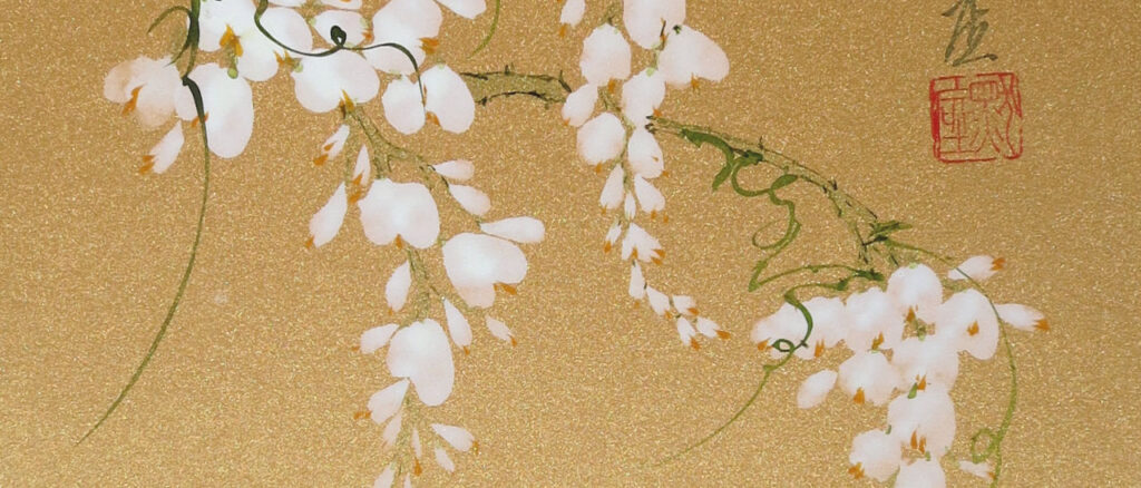 Sumi-e-painting-wisteria-BeppeMokuza-Zen-brush-ink-art-peace-ricepaper