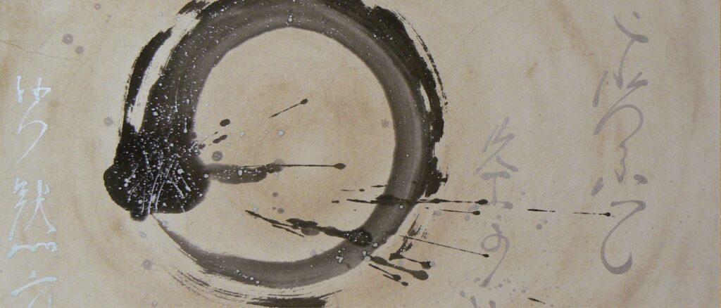 Sumi-e-painting-enso-circle-calligrafy-BeppeMokuza-Zen-brush-ink-art-peace-ricepaper