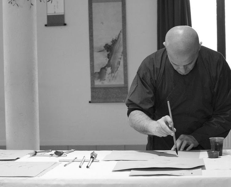 Sumi-e, Painting, Japanese, Beppe Mokuza, Zen, monk, ink, brush, consciousness, art, concentration