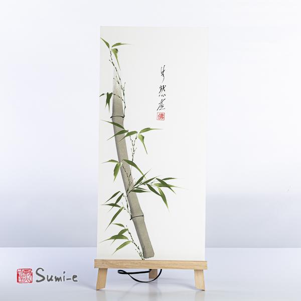 Opera dipinta a mano rappresentante canna di bambù grigia con foglie verdi su carta di riso incollata su un supporto plastificato misura 50x23cm con la firma dell'autore