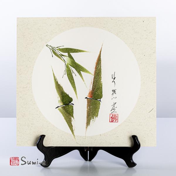 Opera dipinta a mano rappresentante due canne di bambù verdi su cartoncino di riso 25x27cm con firma autore