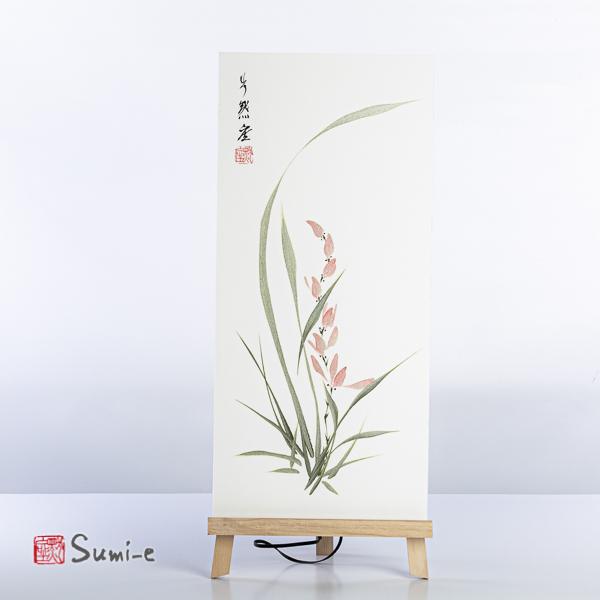 Opera dipinta a mano rappresentante un'orchidea argentata su carta di riso incollata su supporto 50x23cm con firma autore e sigillo rosso