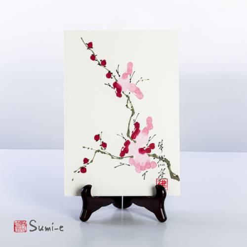 Opera dipinta a mano rappresentante un rametto di pruno fiori rosa su carta di riso su supporto 16x23cm con firma autore e sigillo