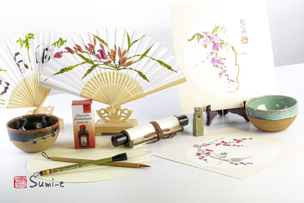 vetrina Sumi-e shop online per acquisti articoli pittura pennelli sigillo ventaglio opera dipinta a mano china kakejiku ciotole